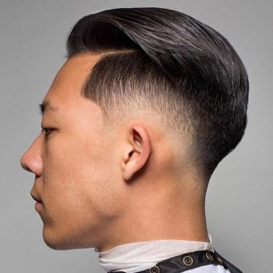 Low Taper Fade With Part And Text