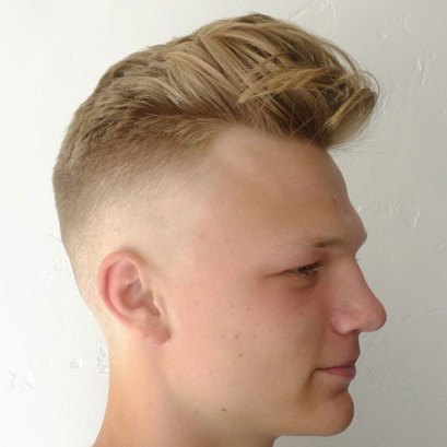 Messy Textured Pompadour Undercut Fade