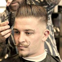 Mid Razor Fade With Comb Over And