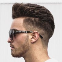 Thick Brushed Back Hair Low Taper Fade