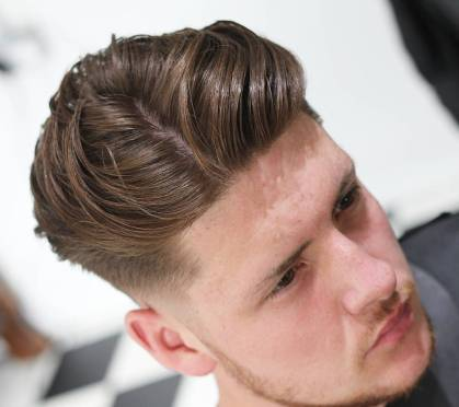 Hideoutbarber Medium Hairstyles For Men 2018 Side Part Blow Back