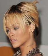 Rihanna Hairstyles Gorgeous French Twist With Wispy Bangs
