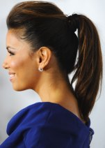 Ponytail With Puffy Top And Inward Curls