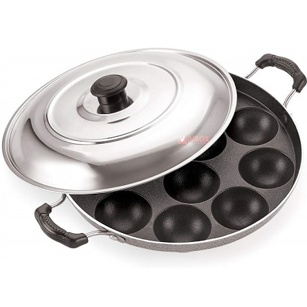 Non-Stick 12 Cavity Appam Patra/Maker with Stainless Steel Lid
