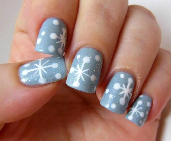 Nail Art Tutorial Blue Snowflake Nails