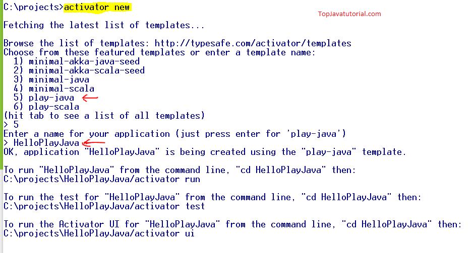 Create Play Java Project
