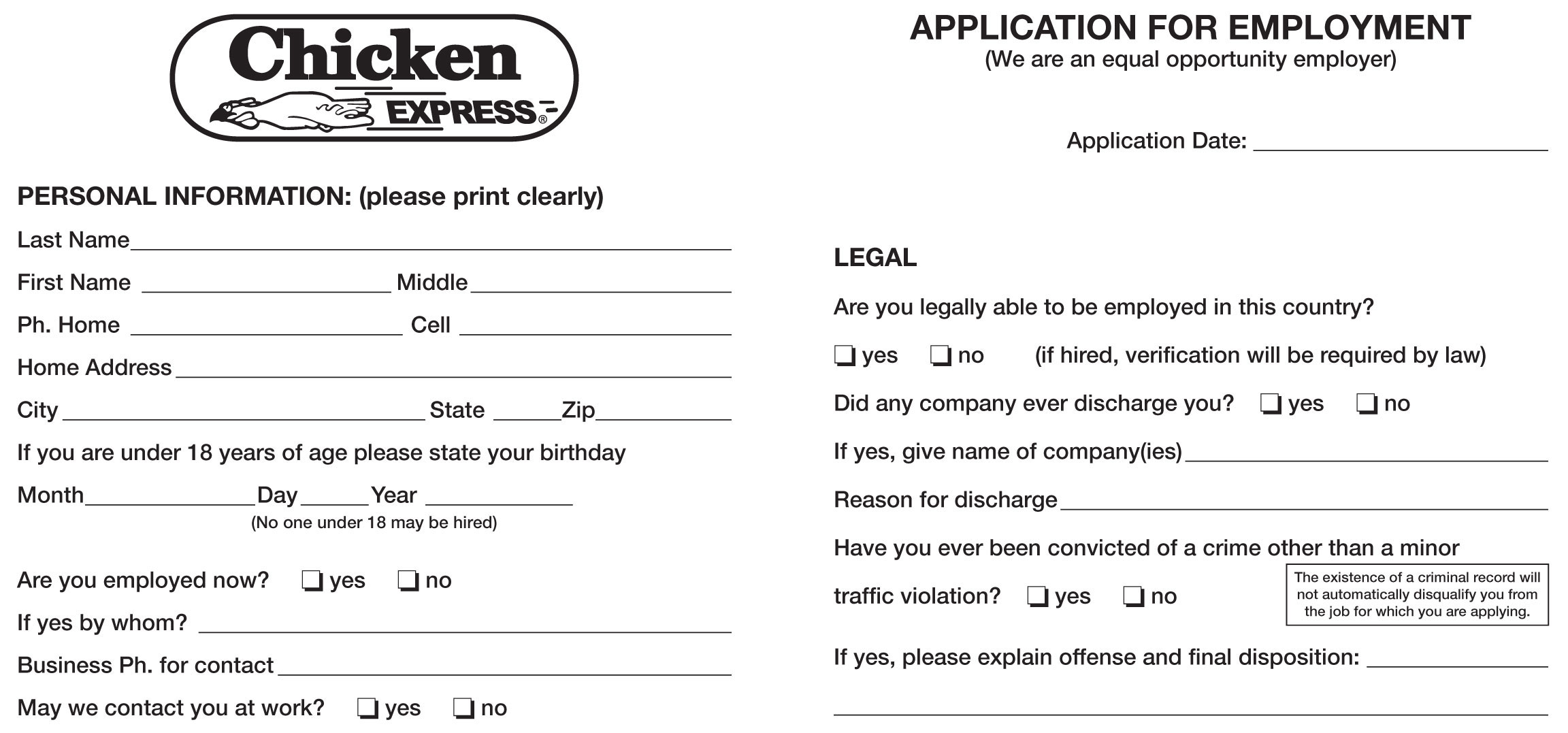 Chicken Express Job Application