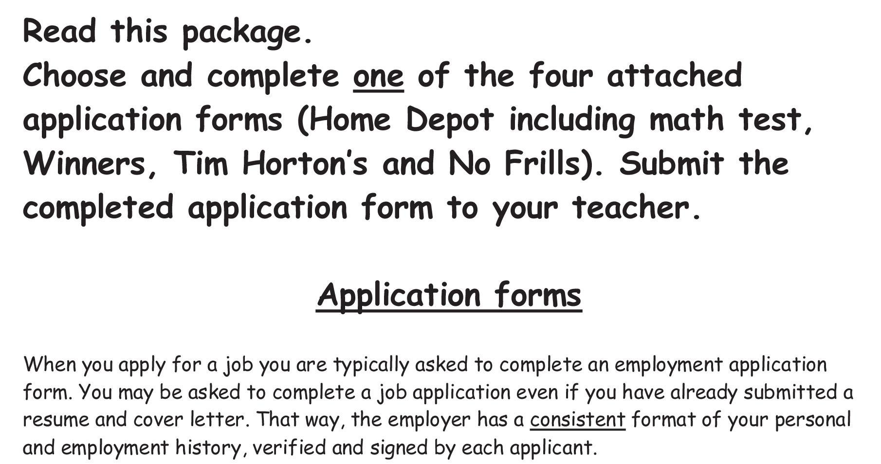home job application job employment forms