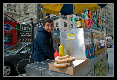 Hotdog street vendor in New York City