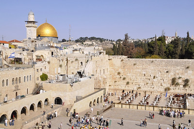 The temple mount, with the golden Dome of the Rock, share a wall with the Western Wall
