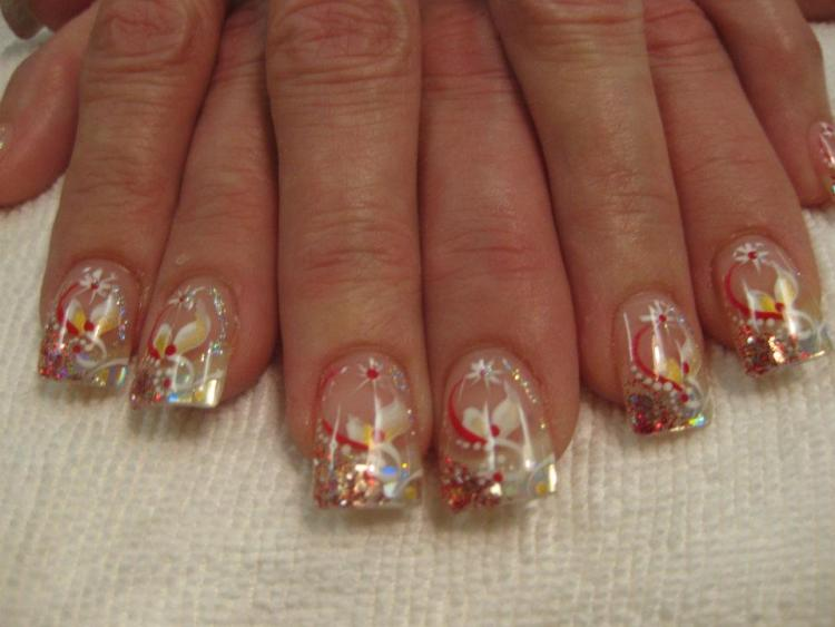 Mirror tip with red/white sparkles, white/yellow dots, white swirl topped with yellow/white petals, red/sparkly swirls, white dots, North Star symbol.