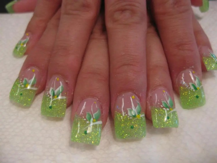 Sparking light green tip with white swirls, green lily, white/yellow dots.