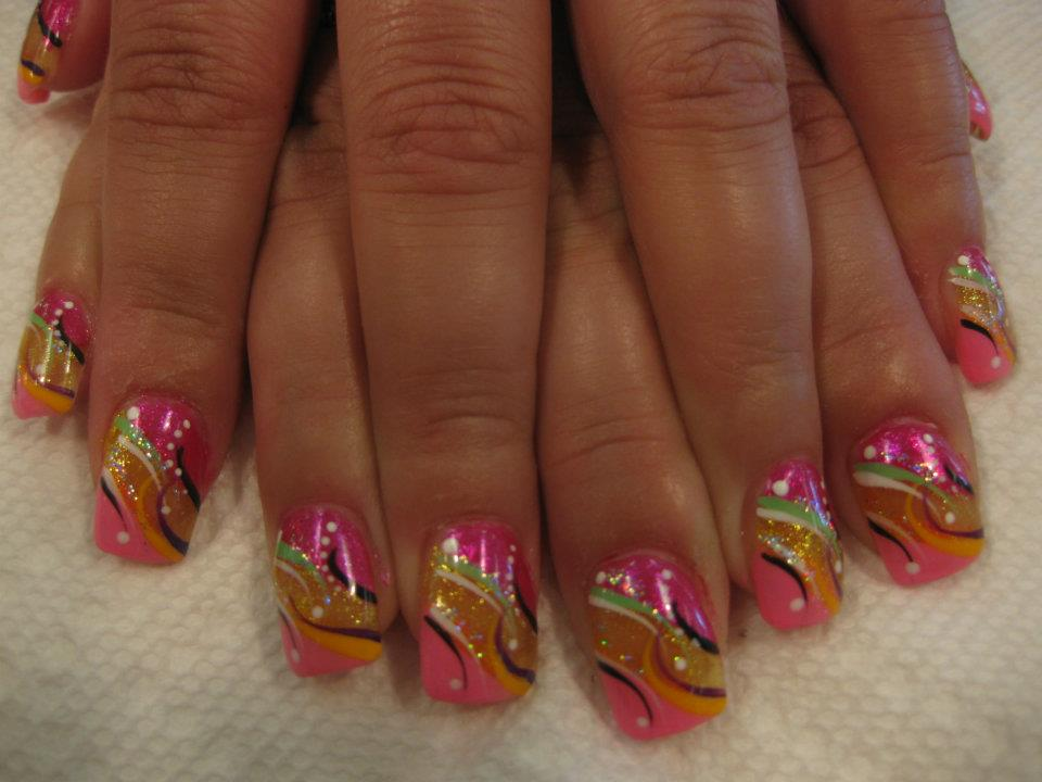 Pink And Gold Spumoni Nail Art Designs By Top Nails Clarksville Tn