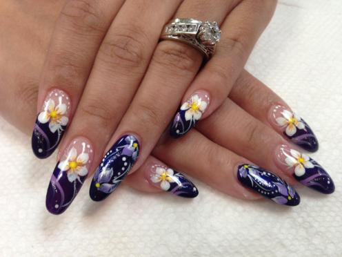 Wow! Exquisite royal purple tip (or full nail) with white (or lavender) calla lilies, lavender/white/sparkly swirls, white dots.