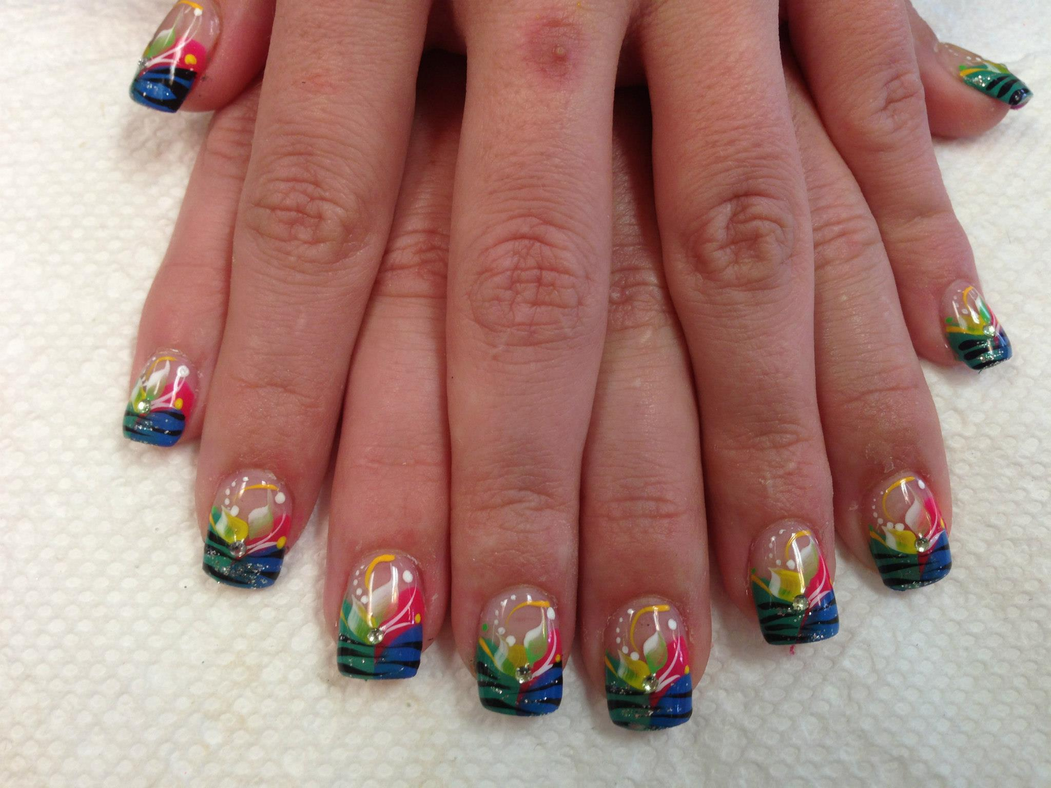 Tiger Stripe Fun, nail art designs by Top Nails, Clarksville TN ...