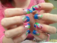 Various colors, with emphasis on bright blue tips, pink/black/white/green swirls, white/yellow/blue dots, and sparkles.