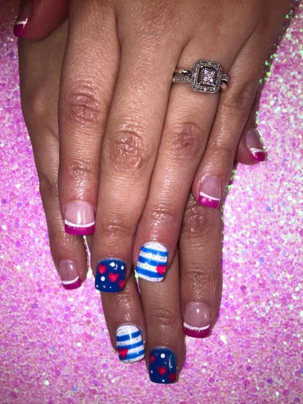 Midnight blue nail with diagonal red hearts and white dots OR Brilliant white/blue stripes w/one heart, sparkles OR short bright pink/white lined tip, flesh colored nail.