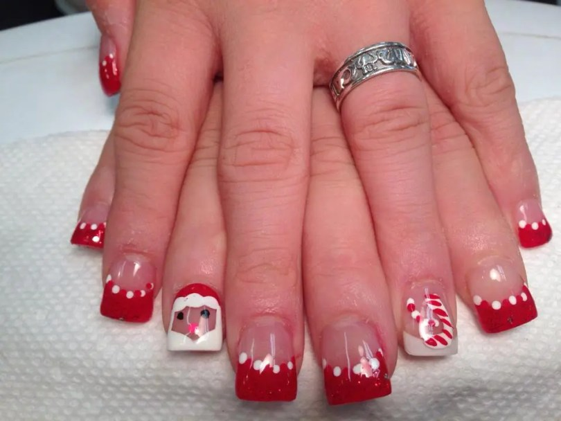 Sparkly Christmas red tip w/red/white dots at edge of tip, flesh colored nail, optional Santa Claus figure on nail.