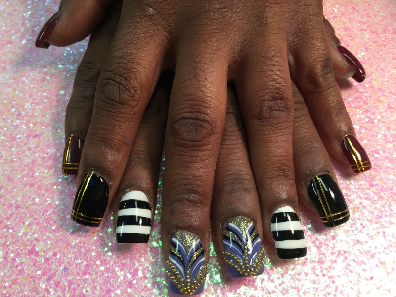 Choice: Deep red or forest green nail w/double-hashed gold lines, OR thick horizontal black/white lines, OR lavender nail with gold bead glue-ons, gold sparkles, black/white swirls.