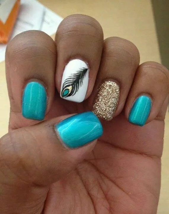 Choice: Shiny Aquamarine nail, OR sparkly gold nail, OR opaque brilliant white nail with turquoise/black/gold peacock feather.