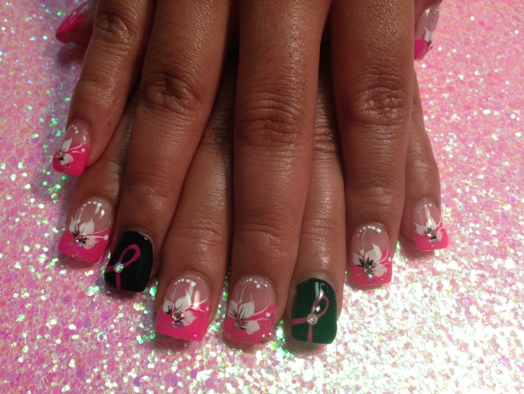 Choice: Shiny black onyx nail w/pink breast cancer awareness ribbon, diamond glue-on OR angled bright pink tip, white lily, diamond ad mirrored glue-ons, white dots.