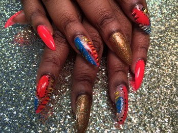 Choice: Bright pink nail, OR sparkly gold/copper nail, OR various designs on half bright blue/half bright pink nails.