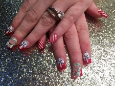 Choice: Christmas red tip w/white/blue snowflake, diamond glue-on OR heart-shaped holly wreath/bowtie, OR diagonal red/white candy can stripes.