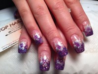Square purple glitter tips with gorgeous flowers design