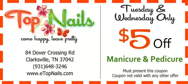 Tuesday & Wednesday only, get $5 off when you do manicure & pedicure