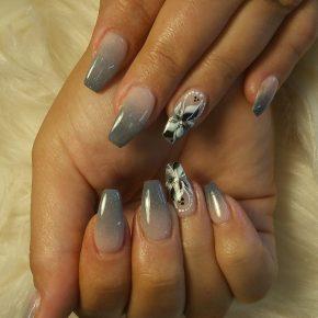 Dip powder ombre nude & dark grey color, pretty nail art design