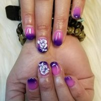 Dipping powder ombre with 3D flowers design