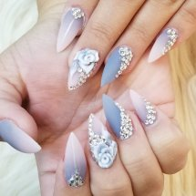 Custom full set dip powder ombre with blings and 3D flower nail art.