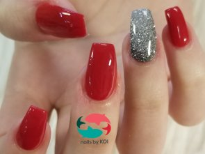 Full set dip powder red and silver glitter nails