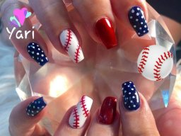 Going to baseball game with baseball nail art by Yari.