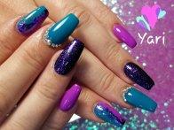 Custom gel nail designs by Yari