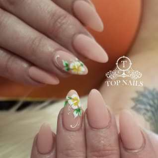 Pretty nude color with flower nailart. SNS nails