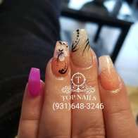 Dipping powder set with pretty flower nailart