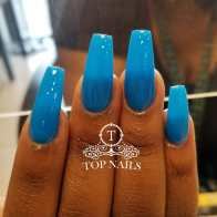 SNS Dipping long coffin nails. Pretty blue color