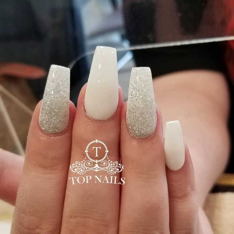 SNS dip powder white and overlay silver sparkle