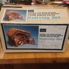 Vintage Italy Christmas ceramic NATIVITY SET Stable in Box by Sears landi