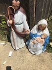 Empire 3 Piece Nativity Set Mary Joseph Jesus Blow Mold Christmas Yard Decor