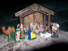 Very Vintage Nativity Italy 12 Figurines Wood Stable