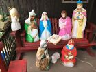 Vintage 9 Piece Empire Nativity Blow Mold Set Christmas Lighted Decor