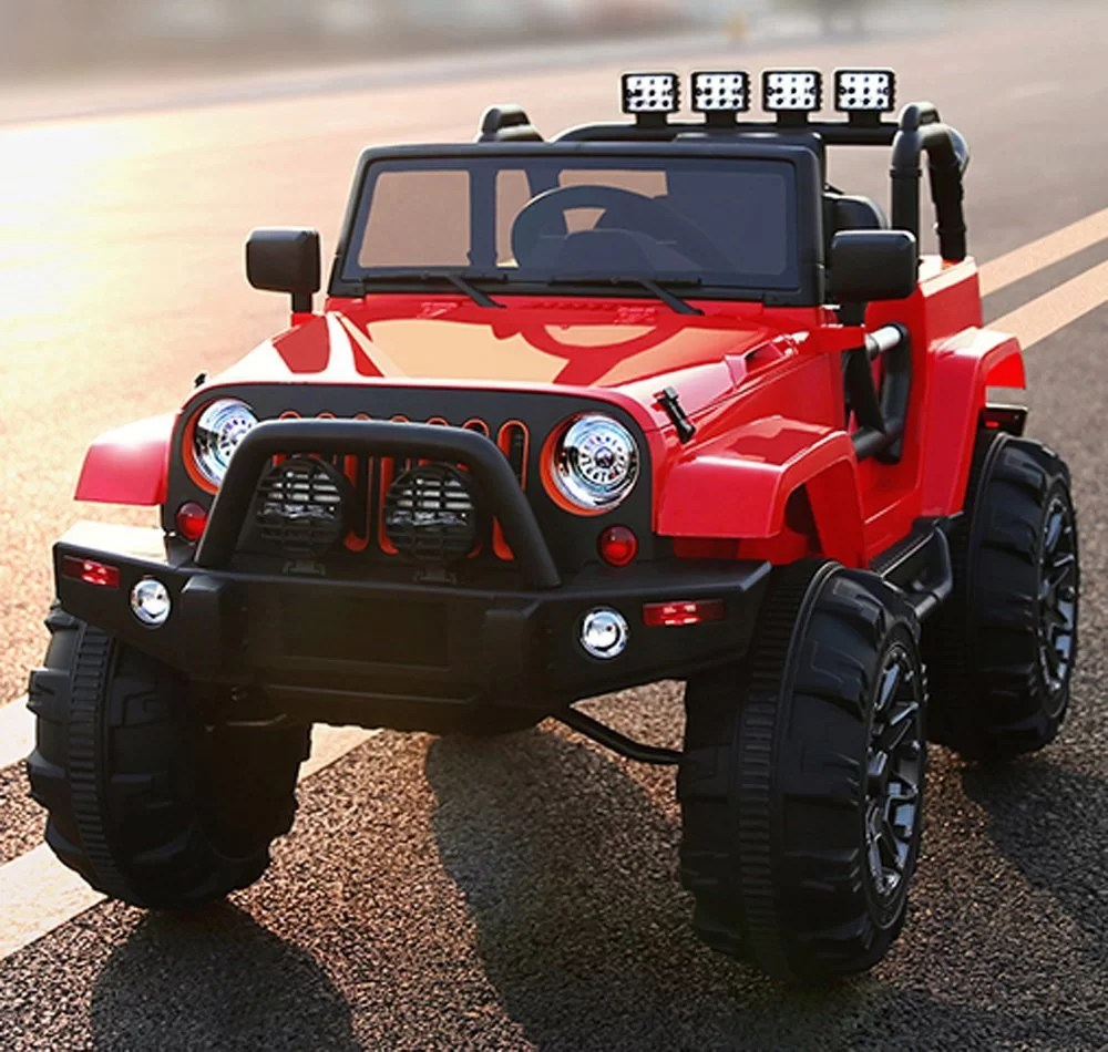 Kids Ride On Jeep 12V Power (With Big Wheels and Remote Control, Red)