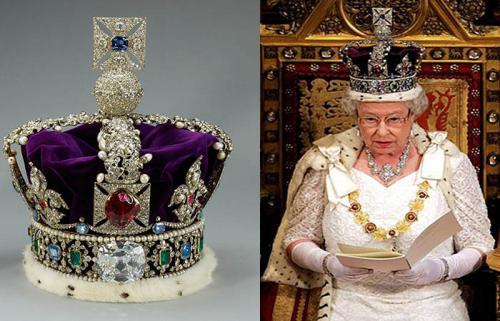 Корона Британской империи.Знаменитая драгоценность, изготовленная в 1911 году, не является собственностью королевы, а принадлежит государству, и основным ее хранилищем является крепость-музей Тауэр, а правящая ныне королева Елизавета II надевает корону лишь по случаю церемонии ежегодного открытия Парламента или других государственных торжеств. И хотя корона имеет относительно небольшой вес, 910 грамм, королева, чтобы привыкнуть к ней и не оконфузиться на церемонии, надевает корону заранее и ходит в ней несколько часов. В эти редкие дни можно увидеть королеву с красующейся на голове великолепной короной за завтраком в домашней обстановке или за просмотром газет.