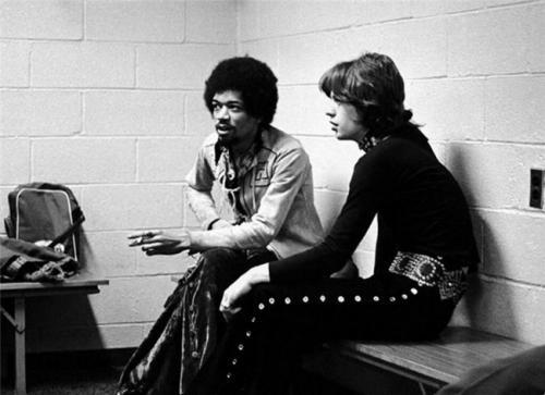 Джими Хендрикс и Мик Джаггер, 1969.