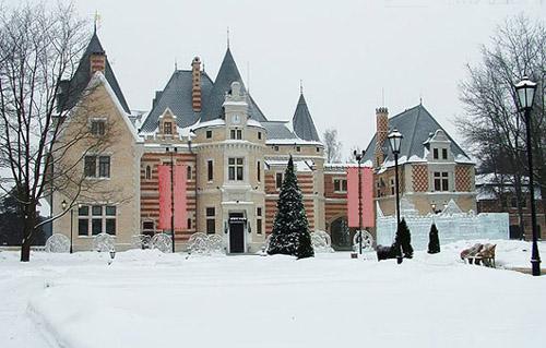 Замок, выполненный в духе немецкой неоготики, заметно выделяется на фоне классических дворянских усадеб.В русском стиле выполнена только колонна в центральном банкетном зале Майендорфа.