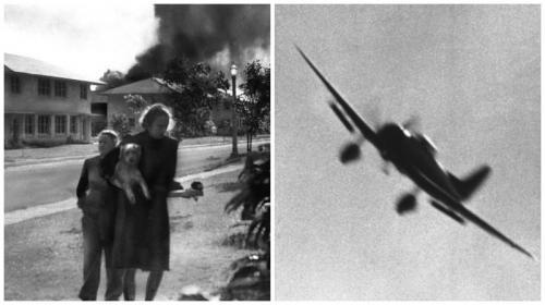 Жены офицеров, бегущие в укрытие/Японский пикирующий бомбардировщик, снимок сделан фотографом ВМС США
