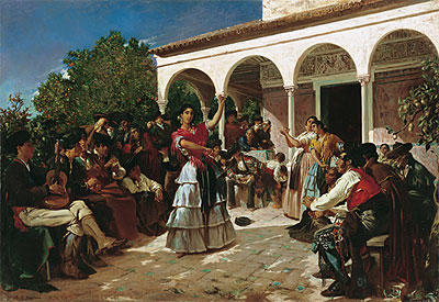 Gypsy Dance in the Gardens of the Alcazar before the Pavilion of Charles V - Alfred Dehodencq - Hand-Painted Art Reproduction