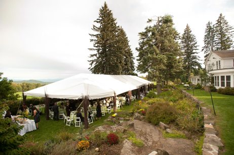 Guests at Outdoor Wedding Reception - Top of the World Golf Resort in Lake George